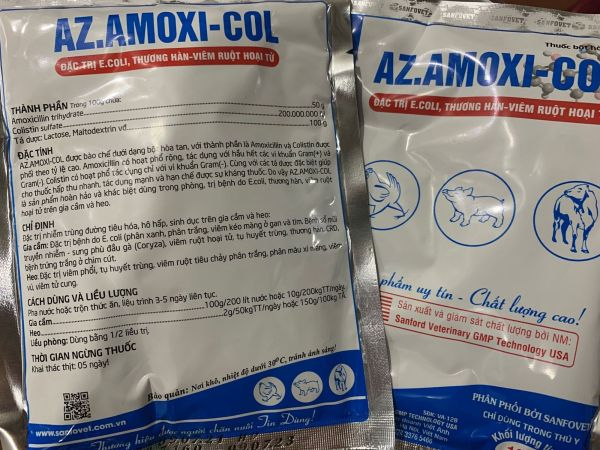 Tụ huyết trùng, Ecoli, THƯƠNG HÀN, VIÊM RUỘT HOẠI TỬ, an toàn cho động vật sinh sản.AMOXICILIN 50% + COLISTIN 200MIU 1kg