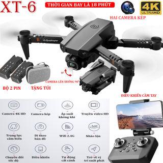 TẶNG TÚI ĐỰNG- Flycam mini XT6 4K hai camera kép ổn định hơn, thời gian bay 15 phút, chế độ nhào lộn 360° - camera điều chỉnh lên xuống 90°, WIFI 2.4g truyền hình ảnh trực tiếp về điện thoại - BẢO HÀNH 3 THÁNG