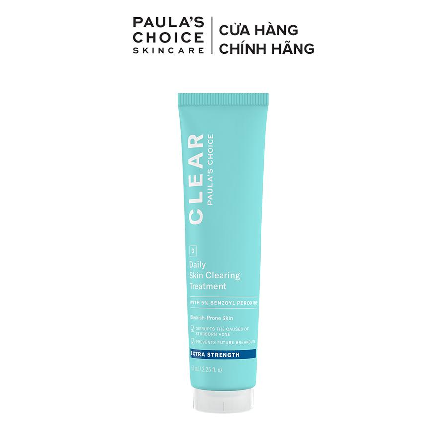 Kem chấm mụn giảm sưng viêm chuyên sâu Paula's Choice Clear Extra Strength Daily Skin 5% benzoyl peroxide 60ml