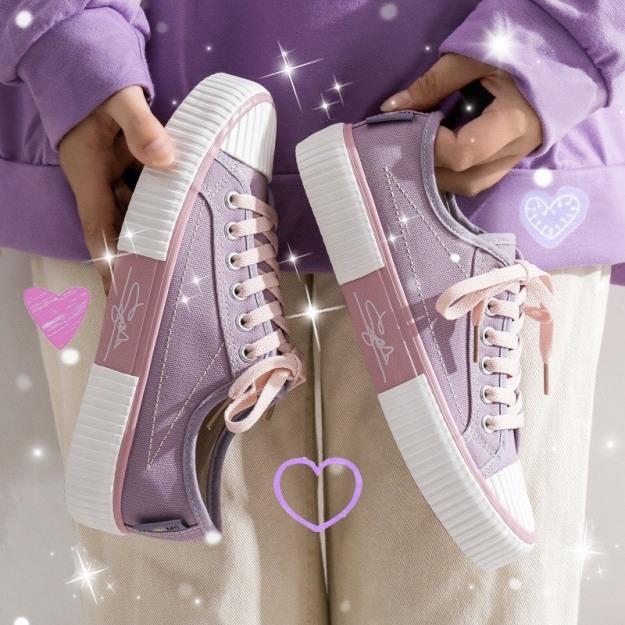 (3 MÀU) giày nữ thể thao cổ thấp dáng học sinh sinh viên trẻ trung nữ tính phối vải mã C-2 3 màu nổi bật giá rẻ