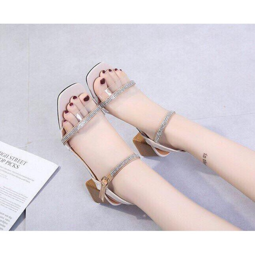 Ảnh thật [ẢNH THẬT] Giày cao gót sandal 5cm bản trong phối xoàn Rosa factory giá rẻ