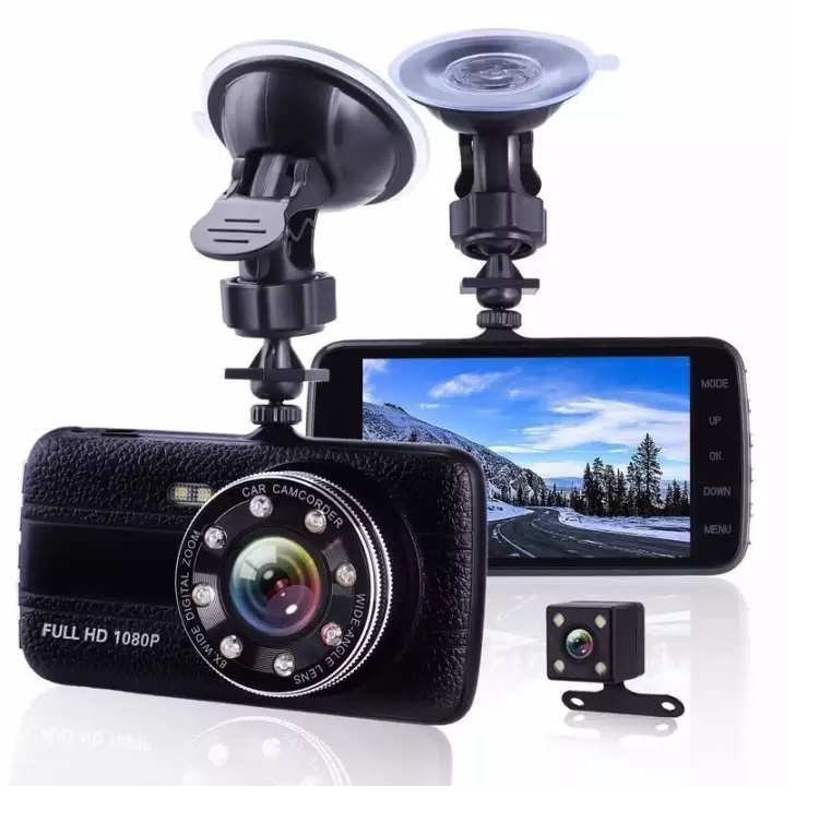 Camera Hành Trình X004 Full HD 1080P Với 8 Đèn Led Quay Ban Đêm Hồng Ngoại LED, 2 Camera: Camera Trước, Camera Lùi, Màn Hình IPS Lớn 4 Inch &  Góc Rộng 170 °, Hỗ Trợ Thẻ Nhớ Dung Lượng 64GB, Ghi Hình Full HD Vòng Lặp Lên Đến 12 Giờ.