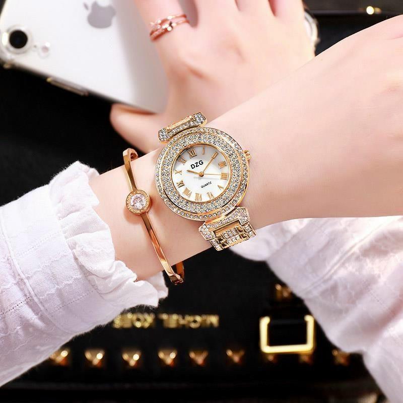 Đồng hồ thời trang nữ DZG mẫu cườm mới AAA123