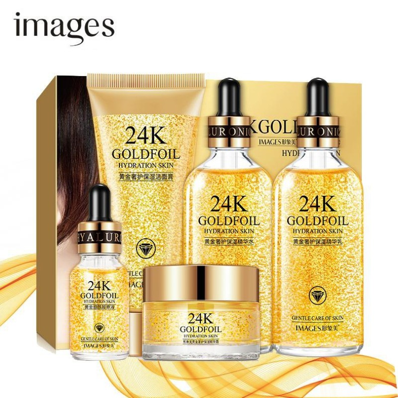 Bộ chăm sóc da dưỡng tái sinh da IMAGES tinh chất vàng 24K dưỡng trắng và ẩm da bộ dưỡng da GM-BMP24K