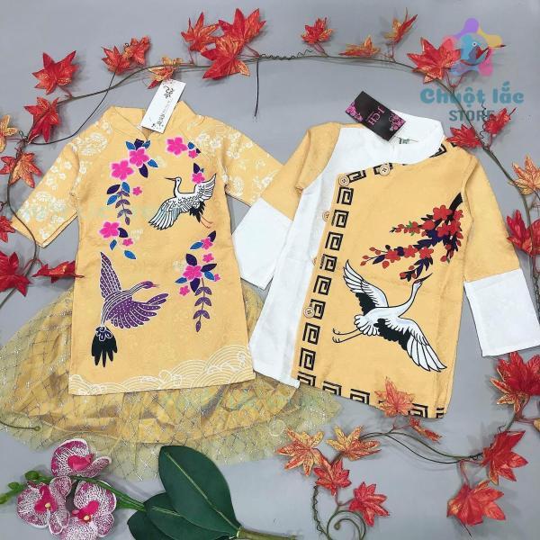 Áo dài cách tân cho bé trai bé gái, Áo dài Tết mẫu mới hottrend hình cò hạc vải gấm cao cấp cho bé từ 9kg đến 35kg (màu đỏ, màu vàng) [Chuột Lắc Store]