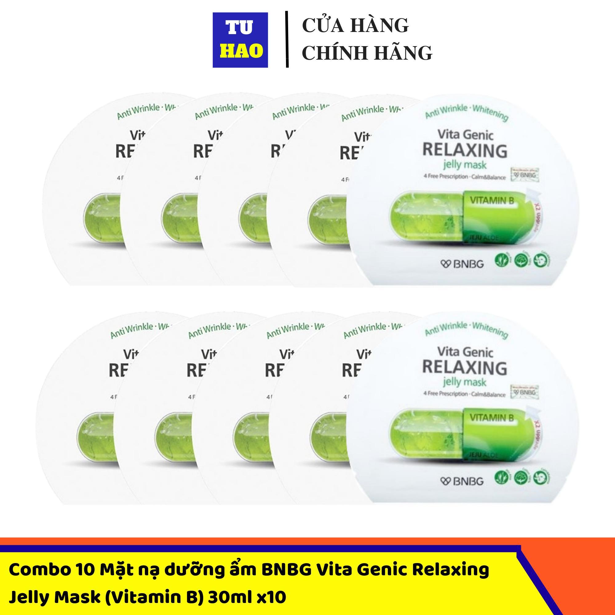 Hộp 10 Mặt nạ dưỡng ẩm BNBG Vita Genic Relaxing Jelly Mask (Vitamin B) 30ml x10 cao cấp