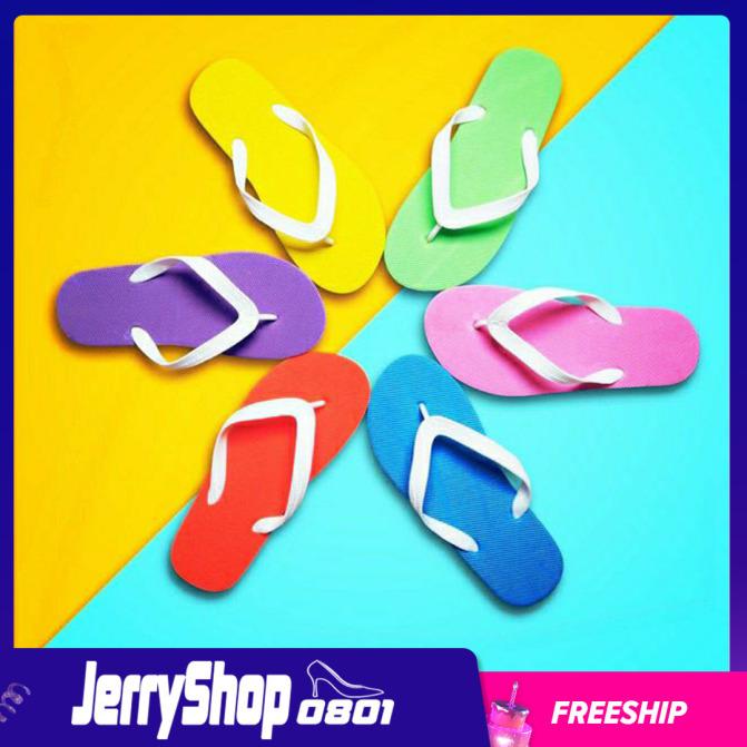 Dép nữ đi trong nhà xỏ ngón xốp trơn siêu nhẹ unisex jerryshop0801 giá rẻ