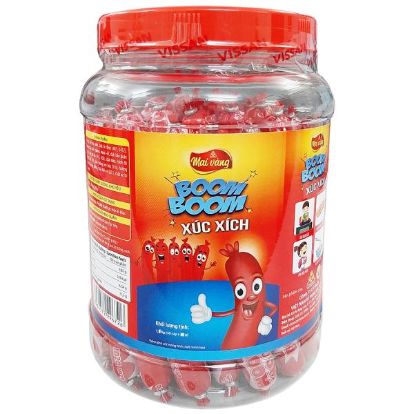 Xúc Xích Vissan Boom Boom Hũ Nhựa (50 Cây x 23g) Sự Lựa Chọn Hoàn Hảo Cho Bữa Ăn Phụ Hàng Ngày