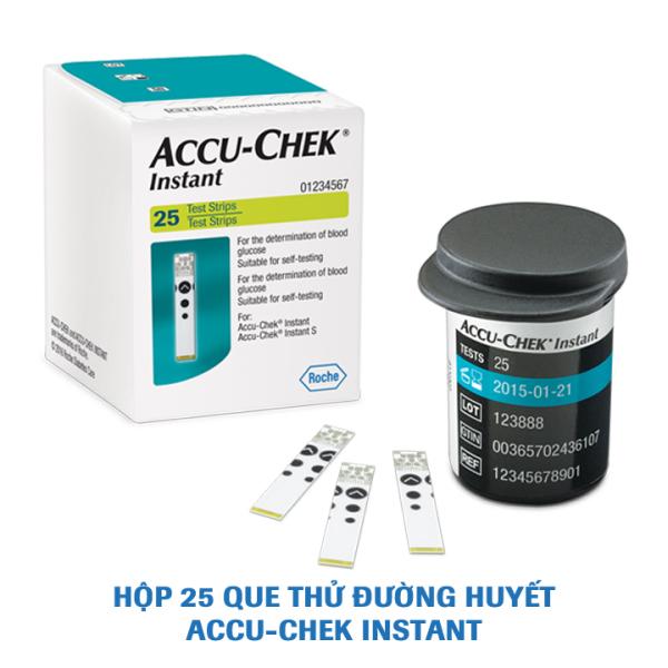 Que thử đường huyết  Accu-Chek Instant. Hộp 25 que