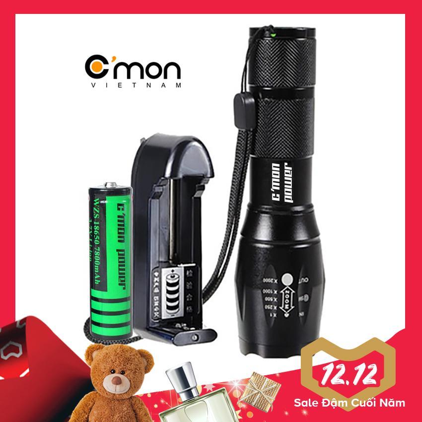 Bộ 1 đèn pin C'MON POWER GUARD T6 LED 10W chiếu xa 500m + 1 pin sạc 7800mAh + 1 cục sạc