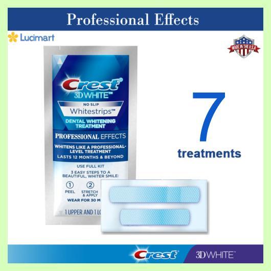 Combo 14 miếng (7 gói/7 ngày) dán trắng răng từ Mỹ, Crest 3D White Whitestrips Professional Effects.
