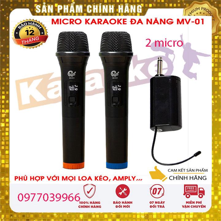 Micro Karaoke không dây mv01 (2 MIC) Công nghệ mới 2021 lời nhẹ, hút âm tốt, thiết kế đẹp, vô địch trong tầm giá