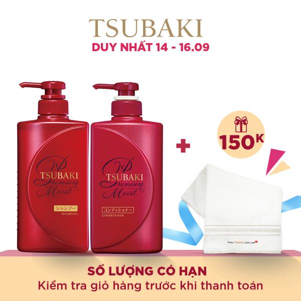 Bộ đôi dầu gội xả dưỡng tóc bóng mượt Tsubaki Premium Moist 490ml/chai tốt nhất