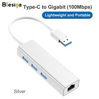 Blesiya Hub USB 3.0 3 Cổng, Có Hỗ Trợ Ethernet RJ45 10 100Mbps, Cho Máy Tính Bảng iMac thumbnail
