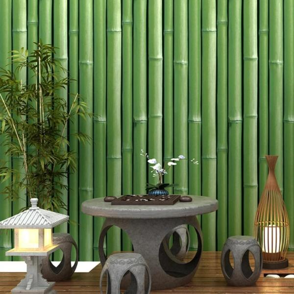 Cuộn 5m decal giấy dán tường tre xanh khổ 45cm keo sẵn dán 2.25 mét vuông