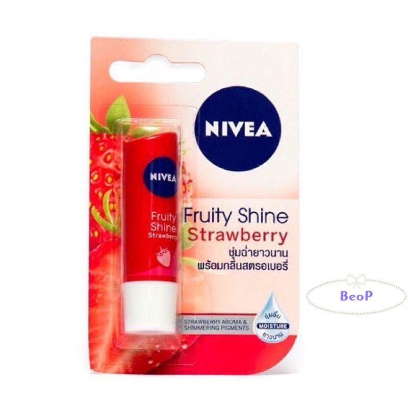 Son Dưỡng Ẩm Môi (Có Màu) Mùi Dâu NIVEA Fruity Shine Strawberry 4,8g (Thái Lan) Chính Hãng