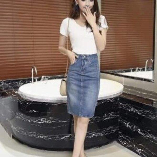 Chân Váy Jean MS-01 Chân váy kiểu dáng bút chì, trẻ trung, hàng Quảng Châu cao cấp. Tặng kèm khuy áo thời trang.