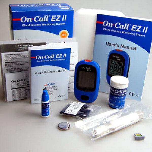 Máy đo đường huyết OnCall EZ II + Tặng 25 kim, 25 que thử + Tặng thêm 50 miếng bông tẩm cồn khô bán chạy