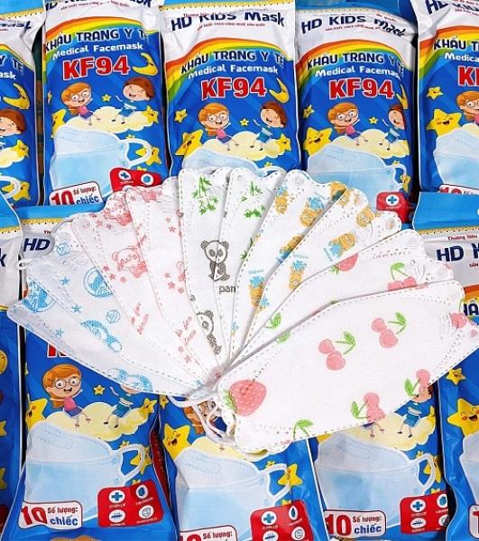 Túi 10 CÁI Khẩu Trang Em Bé 4D HOÀNG DƯƠNG gồm 10 cái Kháng Khuẩn, yên tâm cho bé dùng mùa dịch