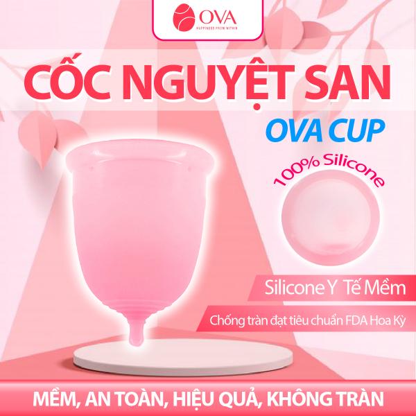 Cốc nguyệt san Ovacup nhập khẩu chính hãng Made In USA 100% Silicone y tế mềm chống tràn đạt tiêu chuẩn FDA Hoa Kỳ (màu trắng) giá rẻ