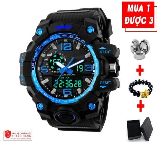 Đồng hồ nam chống nước điện tử SPORT thời trang dáng thể thao chạy cả màn hình điện tử và kim tặng quà như hình bán chạy