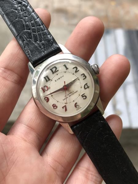 Đồng hồ nữ Elbon cơ cổ Thụy, cơ lên cót tay, thiết kế đẹp số học trò, dây da màu đen