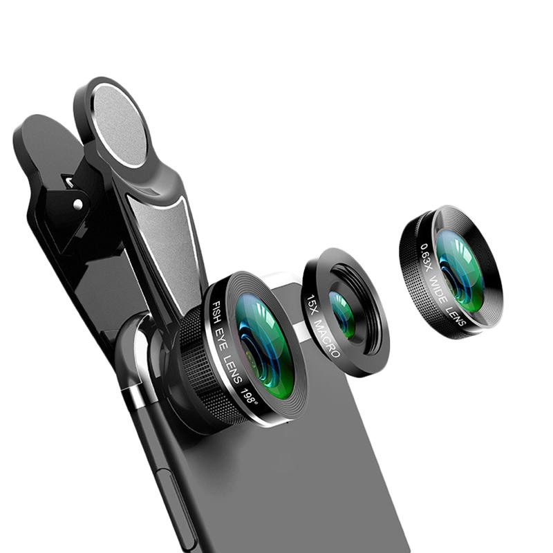 Giá 3 In 1 Phone Camera Lens Kit Fish Eye 0.63X Wide-Angle 15X Macro Lens For Iphone X 8 7 Plus Nokia 6 5 Mobile Lens