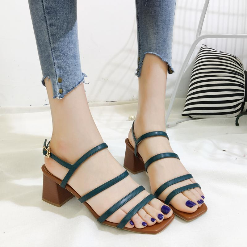 71b2bfd52029 High-heeled Sandals women 2018 New Style Versatile Fashion Vintage Root xue  sheng inflooring Open