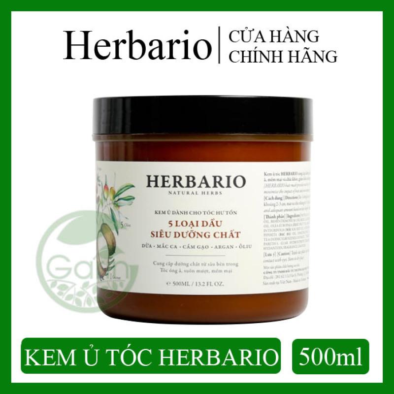 Kem ủ tóc phục hồi tóc hư tổn nặng Herbario 500ml - 5 loại dầu siêu dưỡng chất