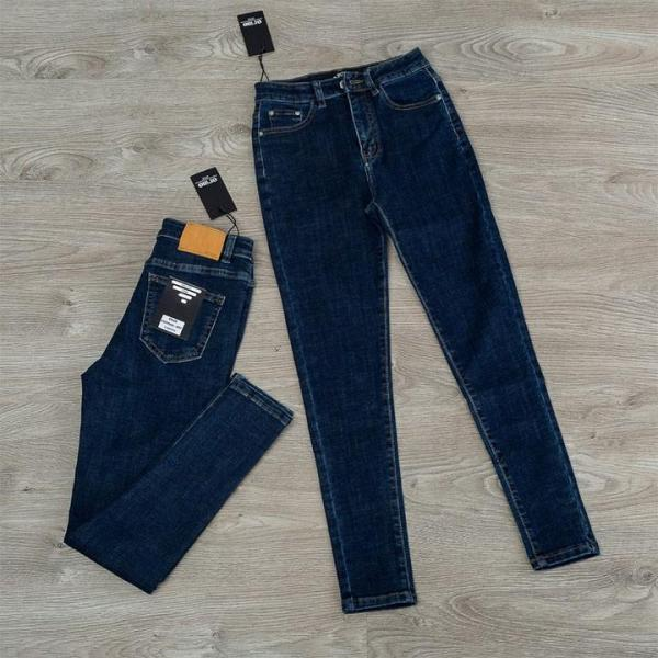 Quần jean nữ (03) lưng cao trơn màu xanh tiêu chất siêu giãn ( size 26 - 34 ) xx-03-ea10