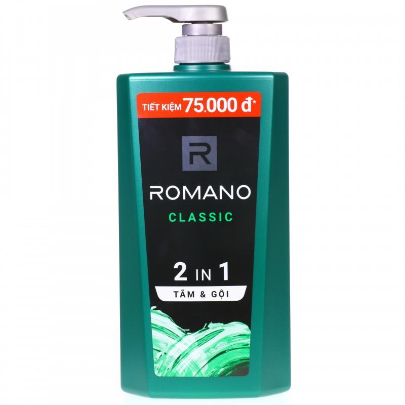 Sữa tắm gội 2in1 Romano Classic chai 900g nhập khẩu