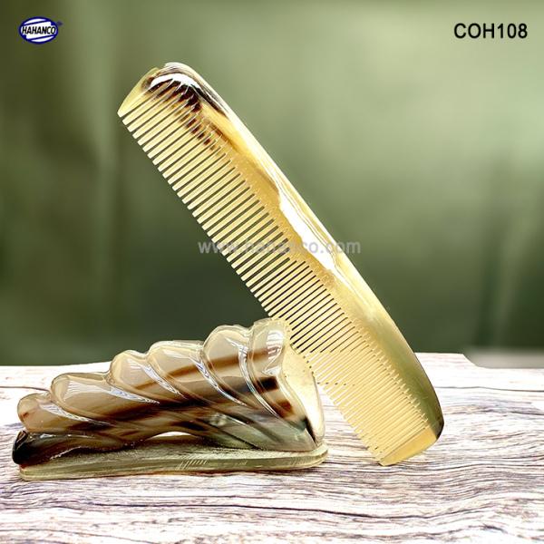 Lược sừng xuất Nhật (Size:XL- 19cm) Lược bằng đầu 2 loại răng [COH108] HAHANCO /Chăm sóc tóc