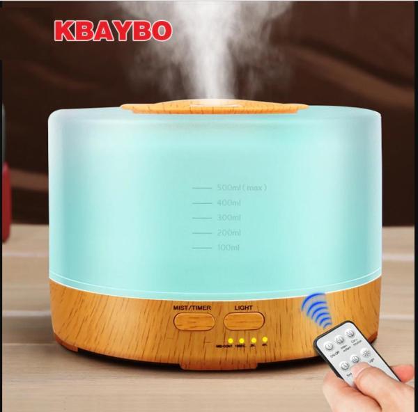 (TẶNG ĐIỀU KHIỂN TỪ XA+ TINH DẦU) Máy tạo ẩm khuếch tán tinh dầu Máy phun sương siêu âm hình trụ 500ML