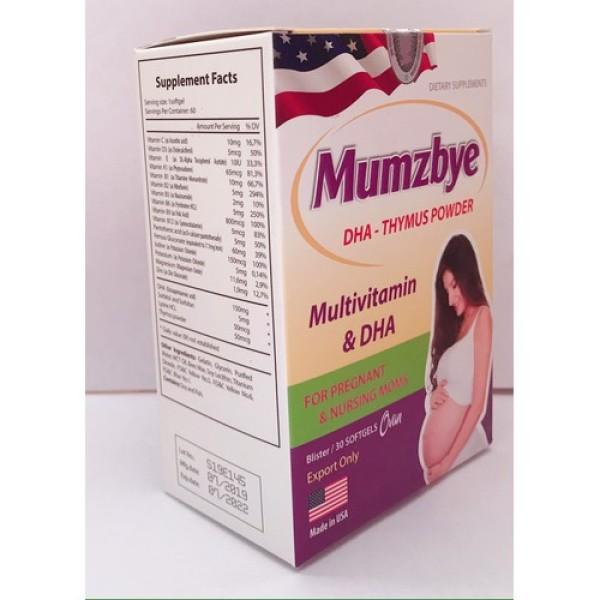 [Hộp 30 viên] Vitamin tổng hợp cho bà bầu, axit folic cho bà bầu MUMZBYE-Bổ sung Vitamin trước, trong và sau khi mang thai nhập khẩu