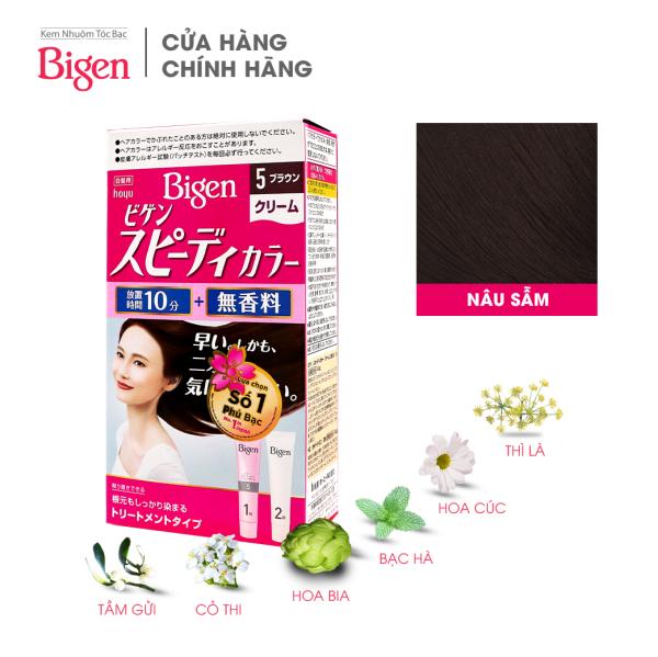 Thuốc nhuộm dưỡng tóc phủ bạc thảo dược Bigen Nhật Nhập Khẩu 100% Nhật Bản Speedy Color Cream 80ml dạng kem - Nâu Sẫm 5 giá rẻ