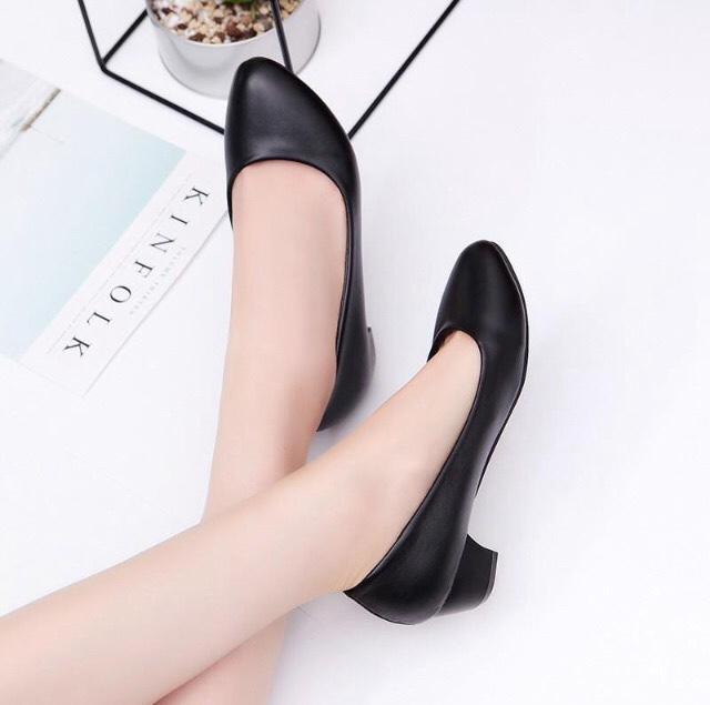 {Hình thật} Giày da lì cao cấp hàng VNXK siêu bền - Gót 4cm