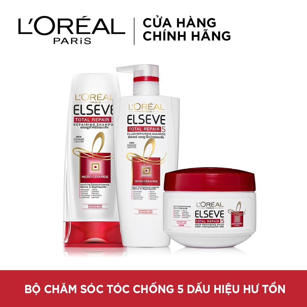 Bộ sản phẩm chăm sóc tóc chống 5 dấu hiệu hư tổn 3 bước LOreal Paris Total Repair 5 Nhật Bản