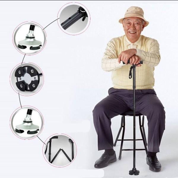 Gậy chống chân, chống trượt Trusty Cana cho người già, xếp gọn, có đèn pin, Gậy 4 chân hỗ trợ người đau chân, khuyết tật