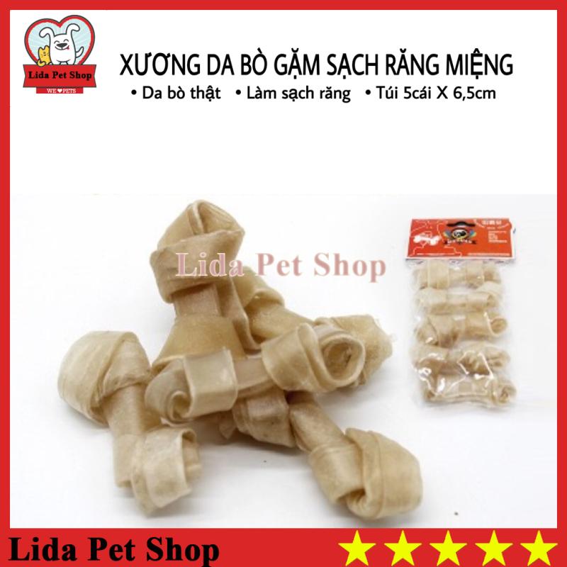 [Lấy mã giảm thêm 30%]HN- Xương da bò cao cấp dành cho chó gặm sạch răng khử mùi hôi miệng - Túi 5 chiếc 6.5cm - Lida Pet Shop