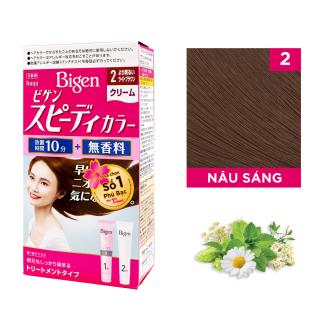 Thuốc nhuộm dưỡng tóc phủ bạc thảo dược Bigen Nhật Nhập Khẩu 100% Nhật Bản Speedy Color Cream 80ml dạng kem - Nâu Sáng 2 thumbnail