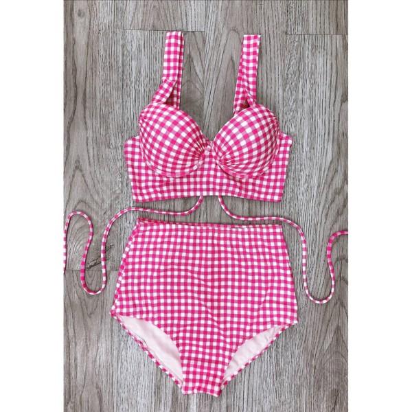 Bikini hai mảnh caro hồng gọng măc đi biển đi bơi đẹp
