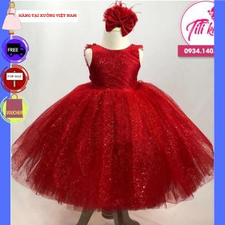 Váy bé gái TITIKIDS xòe cực đẹp (Đỏ) - Đầm bé gái cực xinh cho bé đi chơi - Đầm công cho bé gái - Đầm tại xưởng