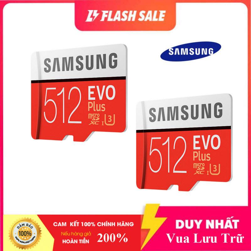[Flash Sales] Combo Giá Hot 2 Thẻ nhớ MicroSDXC Samsung Evo Plus 512GB U3 4K R100MB/s W90MB/s - box Anh New 2020 (Đỏ) + Kèm Adapter