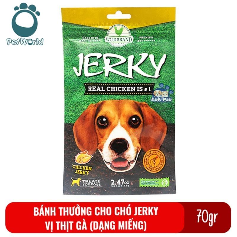 Bánh thưởng cho chó Jerky 70gr - Vị thịt gà dạng miếng