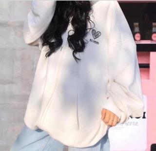 [FREESHIP TOÀN QUỐC] Áo khoác nỉ nữ thêu tim form rộng phối màu phong cách Hàn Quốc đi học đi chơi 3