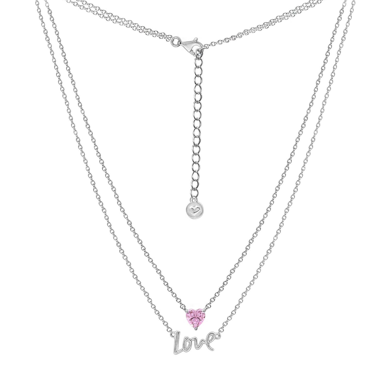 Dây chuyền Layer Love Heart Jadmire bạc Ý 925 cao cấp mạ Platinum đính đá Swarovski® hồng