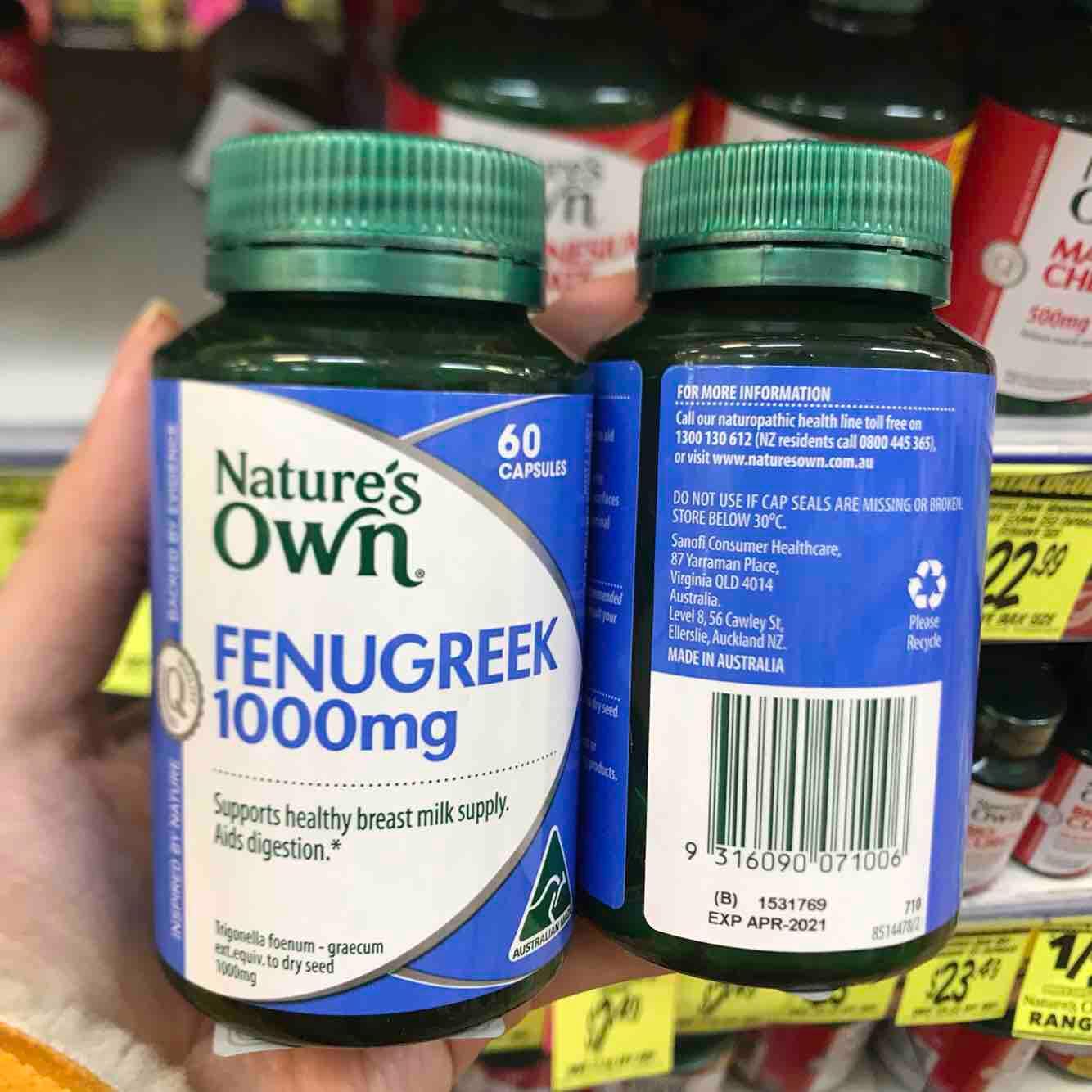 Viên uống lợi sữa cho Mẹ Natures Own - Fenugreek 60 viên - Hàng Úc nhập khẩu
