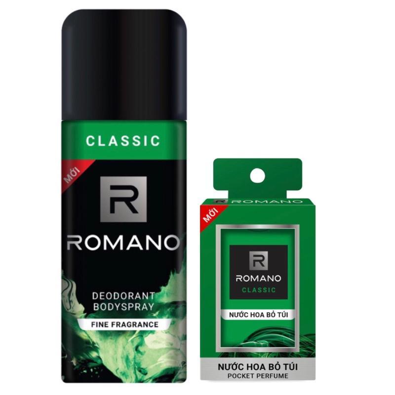 Combo Xịt khử mùi toàn thân cho nam Romano Classic 150ml+ Nước hoa bỏ túi Classic 18ml