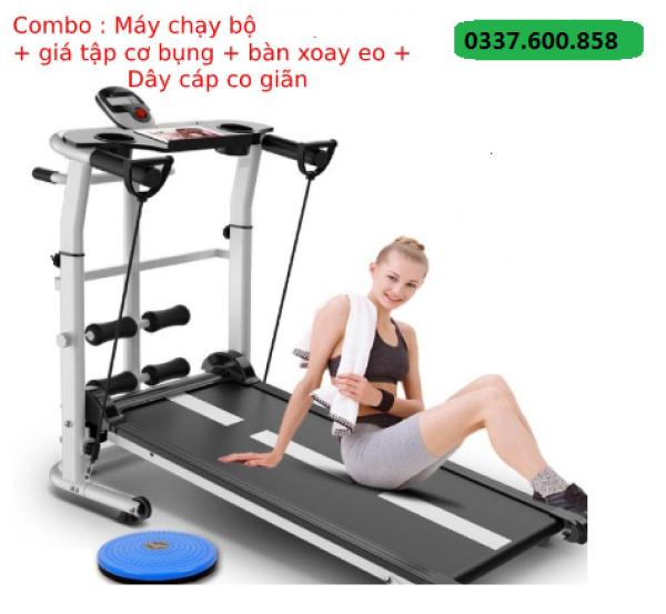 Máy chạy bộ cơ năng Tặng bàn xoay eo + giá đỡ tập cơ bụng + dây cáp kéo tay