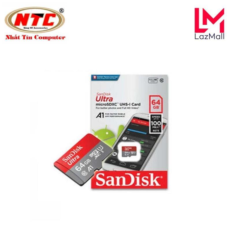 Thẻ nhớ MicroSDXC SanDisk Ultra A1 64GB Class 10 U1 tốc độ 100MB/s box Anh - Phiên bản mới 2019 (Đỏ)
